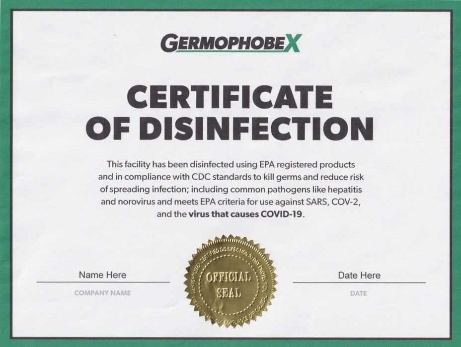 certificate of disinfection